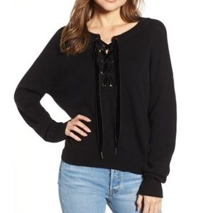 Rails Olivia black lace up cashmere wool sweater